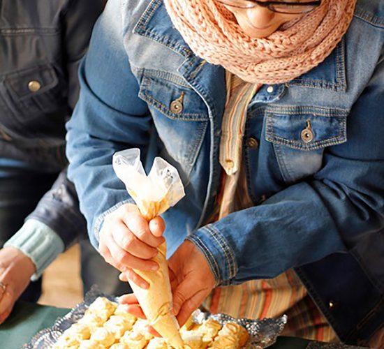 Mousse de puerros con mayonesa de romesco